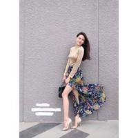 Set váy hoa xẻ đùi + áo thun tay dài - 5997.SETZO