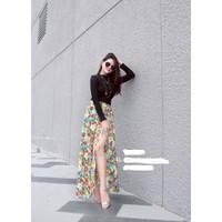 Set váy hoa xẻ đùi + áo thun tay dài - 5996.SETZO
