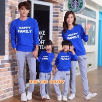 Sét áo gia đình thu đông sắc xanh dễ thương HGS 334