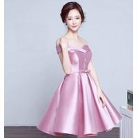 ĐEN,HỒNG-Đầm Xòe Trễ Vai Taffta Cao Cấp-TQS365