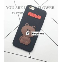 Ốp full lưng viền gấu Brown iPhone 6 6S 6Plus 6S Plus 7 7Plus