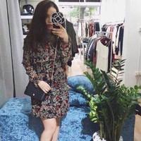 đầm suông hoa vắn cực đẹp Za Dress