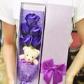 Quà tặng - Hoa hồng sáp thơm 5 bông và gấu bông xinh xắn