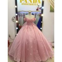 áo cưới hồng tay ngang đuôi 1m chụp hình cực đẹp giá mềm