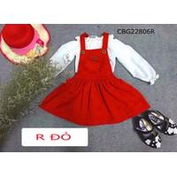 Set váy yếm áo trễ vai dễ thương cho bé gái 1-8 tuổi CBG22806