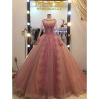 áo cưới tay dài hồng da thích hợp chụp hinh phim trường ngoai cảnh