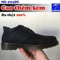 GIÀY DA THẬT BLACKSHOE TĂNG CHIỀU CAO 5CM CAO CẤP TINTO 4703DE