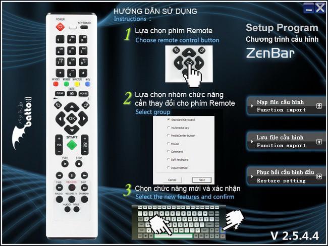 Giao diện chương trình cấu hình Batto Mi3 Zenbar