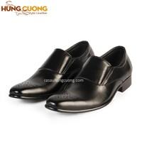Giày tăng chiều cao da bò thật cao cấp Hùng Cường màu đen HC1033