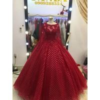 áo cưới đỏ đô tay dai lót ren ẩn trái tim xinh cho noel 2017-2018