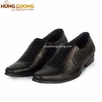 Giày tây da bò kiểu xỏ Hùng Cường màu đen HC1207
