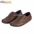 Giày lười da bò thật Hùng Cường màu nâu HC1204