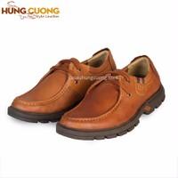 Giày Dr da bò cột dây Hùng Cường màu bò HC1208