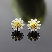 Bông tai bạc 925 hoa hướng dương đẹp thời trang Hàn Quốc