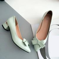 Giày gót vuông phối nơ xinh - LN1035