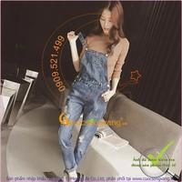 Hàng nhập - Quần yếm nữ jean denim đẹp cotton wash mềm mài rách GLQ023