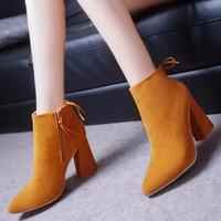 Giày bốt đế vuông da lộn GF56024450