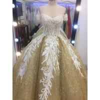 áo cưới tay ngang vang nude trắng ren hoa đep xinb