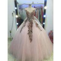 áo cưới hồng hoa pastel đuôi lê lot ren ẩn
