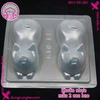 Khuôn nhựa làm bánh trung thu - rau cau - mẫu 2 con heo - YT-049