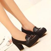 Giày cao gót đế vuông da lộn GF51016435