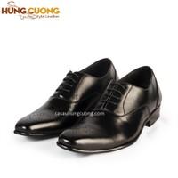 Giày tăng chiều cao da bò thật cao cấp Hùng Cường màu đen HC1032