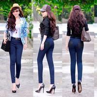 Quần jean lưng cao 1 nút phối 2 túi đen xinh xắn