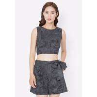 Set áo crop top phối quần short - Caro đen - CIRINO