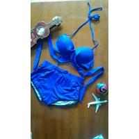 bikini cạp cao màu xanh