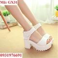 Giày sandal cao gót 5cm trắng Hàn Quốc - GX31
