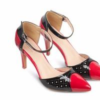 Giày Cao Gót đỏ phối đen - MD2401