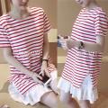 Đầm bầu suông sọc chân váy xoè ngắn tay xinh xắn,trẻ trung-D2719