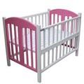 Giường cũi trẻ em 2 trong 1 gỗ xoan đào 70-110 trắng hồng
