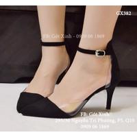 Giày cao gót mũi nhọn hở eo phối mica đen-GX382
