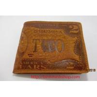 bóp da  bò nam khắc hình tờ 2 USD