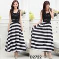Đầm maxi váy dài sọc liền áo phối ren hoa sát nách-D2722