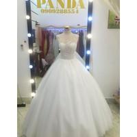 áo cưới tùng ren trắng
