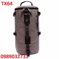 Balo Vải  kết hợp túi xách hình trụ cao cấp - TX64