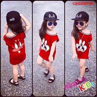 Váy thun lệch vai in hình thỏ dễ thương cho bé gái 1 - 8 tuổi_CBG20874