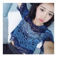 áo ren nữ crop top hoa Mã: AK1732