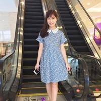 Đầm thô hoa xanh