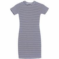 Áo Váy Đầm Thun Nữ Dáng Form Dài Kẻ Ngang Có Túi Cộc Tay Bodycon Midi