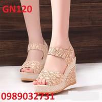 Giày đế xuồng ren nữ cao gót cao cấp - GN120