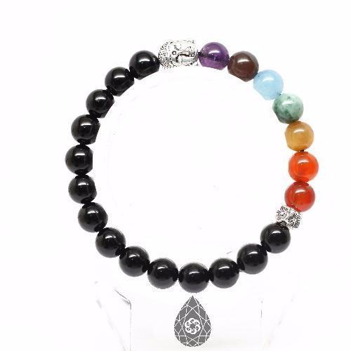 Vòng tay đá obsidian mix 7 chakras + charm phật