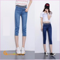 Quần jeans lửng nữ quần lửng lưng cao lưng thun GLQ028