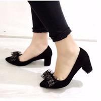 giày gót vuông nơ nhung
