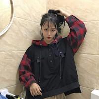 áo hoodie tay caro oversized Mã: AX3328 - ĐỎ