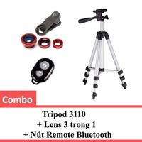 Combo Tripod 3110 + Lens 3 trong 1 + Nút Remote Bluetooth
