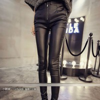 quần da nữ lưng cao dây kéo Mã: QD1624