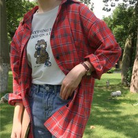 áo sơ mi flannel sọc caro oversize Mã: AM1219